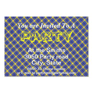 Blue And Yellow Diagonal Plaid Fabric Design Card