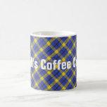 Blue And Yellow Diagonal Plaid Fabric Design Coffee Mug