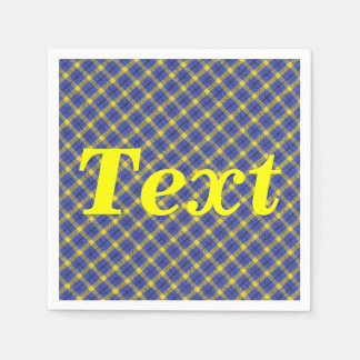 Blue And Yellow Diagonal Plaid Fabric Design Paper Napkin