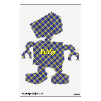 Blue And Yellow Diagonal Plaid Fabric Design Wall Sticker