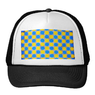 Blue and Yellow Distressed Polka Dotted Trucker Hats