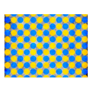 Blue and Yellow Distressed Polka Dotted Postcard