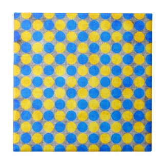 Blue and Yellow Distressed Polka Dotted Ceramic Tiles