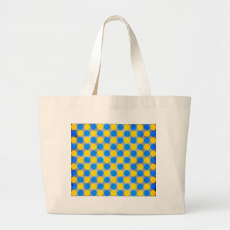 Blue and Yellow Distressed Polka Dotted Tote Bag