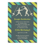 Blue and Yellow Fencing Birthday Party Invitation