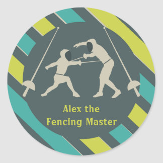 Blue and Yellow Fencing Stickers Party Favor