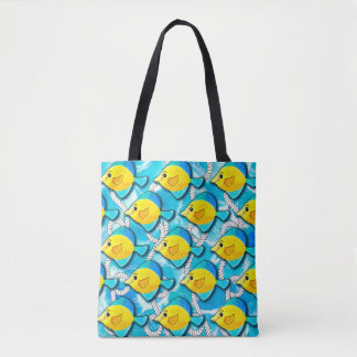 Blue and Yellow Fish with Nautical Rope in Ocean Tote Bag