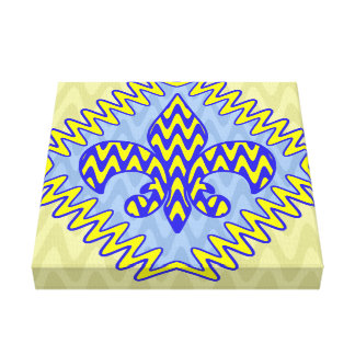Blue and Yellow Fleur de lis Stretched Canvas Print