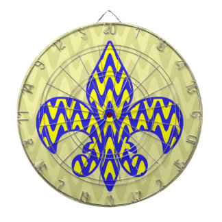 Blue and Yellow Fleur de lis Dartboard