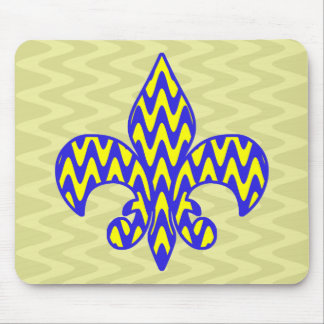 Blue and Yellow Fleur de lis Mouse Pad