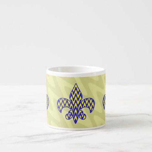 Blue and Yellow Fleur de lis 6 Oz Ceramic Espresso Cup