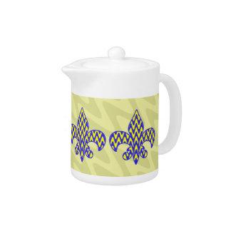 Blue and Yellow Fleur de lis Teapot