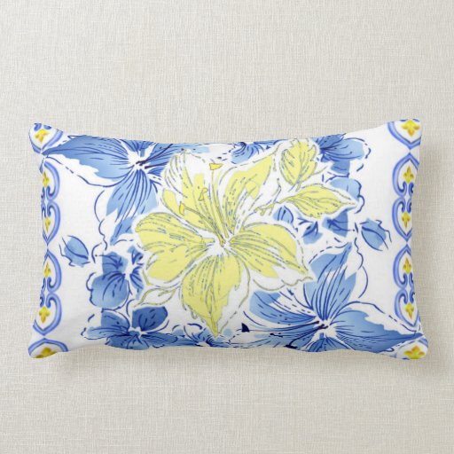 Throw Pillows Yellow And Blue : Blue And Yellow Floral Pillows - Blue And Yellow Floral Throw Pillows Zazzle