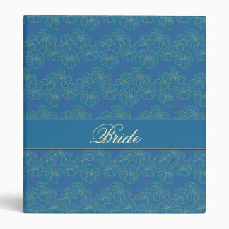 Blue and Yellow Floral Design Bride's Binder
