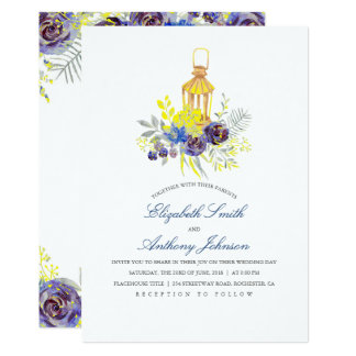 Blue and Yellow Floral Lantern Wedding Card