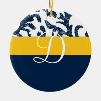 Blue and Yellow Floral Monogram Christmas Ornaments