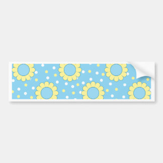 Blue and yellow floral pattern bumper sticker