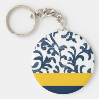 Blue and Yellow Floral Pattern Keychain