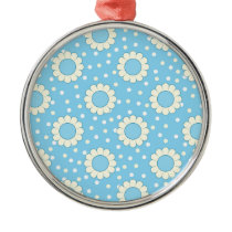Blue and yellow floral pattern metal ornament