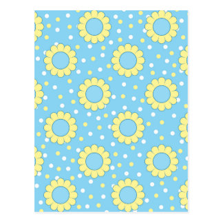 Blue and yellow floral pattern postcard