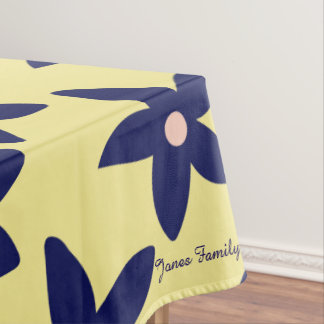 Blue And Yellow Floral Personalize Tablecloth