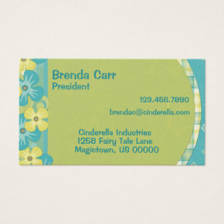 Blue and yellow flower business cards