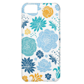 Blue and yellow flower silhouettes pattern cover for iPhone 5C