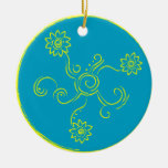 Blue and yellow flower swirls christmas tree ornaments