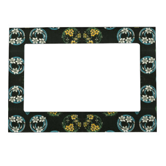 Blue and Yellow FLowers on Black Magnetic Frame