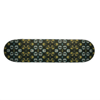 Blue and Yellow FLowers on Black Skateboard Deck