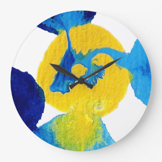 Blue and Yellow Flowing Paint Abstract Art Large Clock