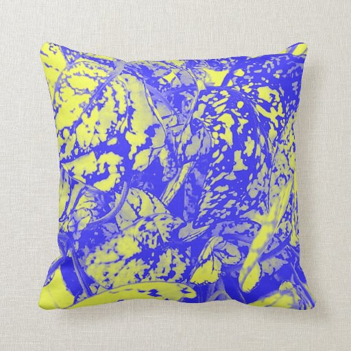 Yellow Blue And Brown Throw Pillows : Blue and Yellow Foliage Throw Pillow Zazzle
