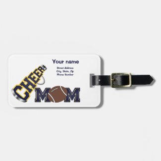 Blue and Yellow Football Cheer Mom Luggage Tag