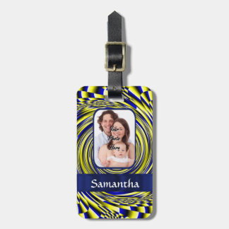 Blue and yellow fractal bag tag