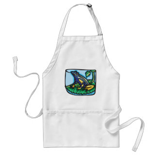 Blue and Yellow Frog Adult Apron
