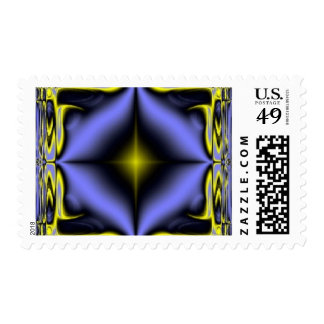 Blue and Yellow Glow Fractal Pattern Stamps