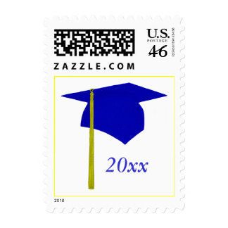 Blue and Yellow Graduation Stamps Cap and Tassel