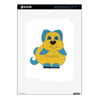 Blue and yellow happy puppy decals for iPad 3