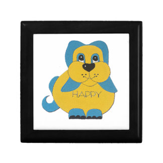 Blue and yellow happy puppy gift box
