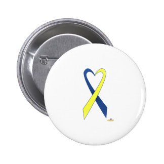 Blue And Yellow Heart Shaped Awareness Ribbon Pinback Button