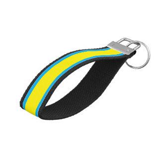 Blue and Yellow Horizontal Stripes Wrist Keychain
