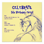 Blue and Yellow Horse Head Sketch Birthday Invite