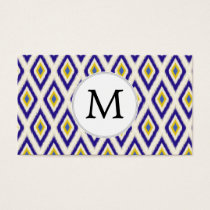blue and yellow ikat diamonds business card