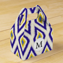 blue and yellow ikat diamonds favor box