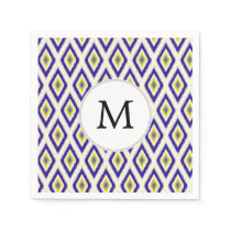 blue and yellow ikat diamonds napkin