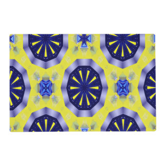 blue and yellow kaleidoscope placemat