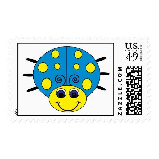 Blue and Yellow Ladybug Postage