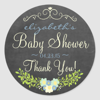 Blue and Yellow Laurel Chalkboard Look Baby Shower Classic Round Sticker