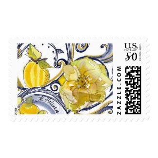 Blue and Yellow Lemon Versailles Swirl Postage