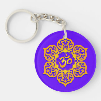 Blue and Yellow Lotus Flower Om Double-Sided Round Acrylic Keychain